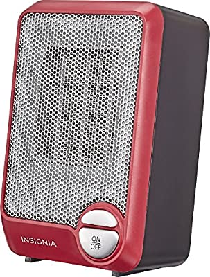 Insignia - Electric Table Desk Heater Home Office Warm Air Heat Portable -Red
