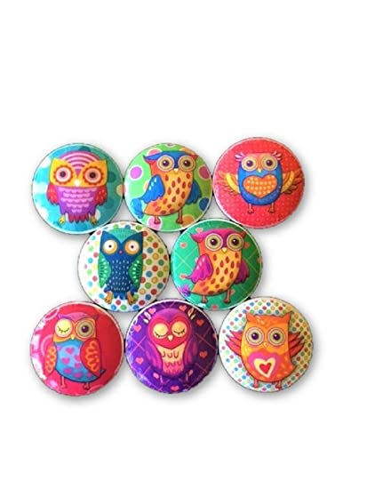 Set Of 8 Funky Owls Print Wood Cabinet Knobs