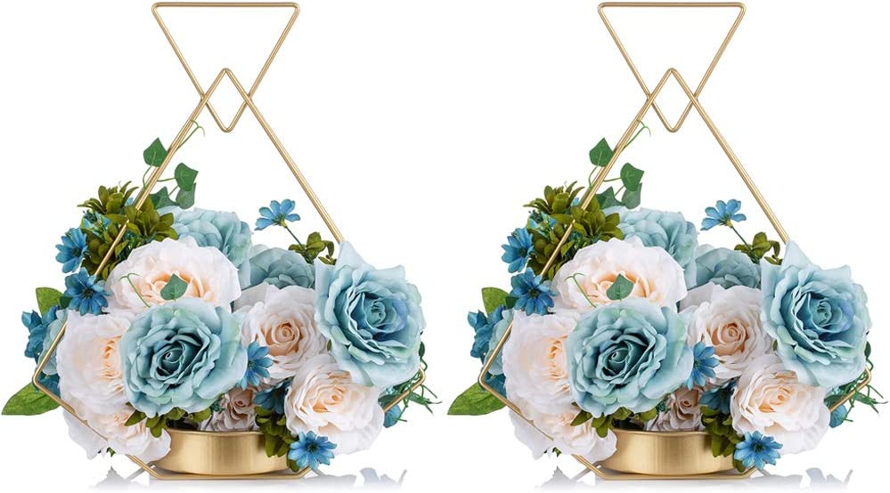 Amazon Com 2 Pcs Wrought Iron Portable Hanging Gold Flower Vase For Party Home Decor Wedding Gifts Wedding Centerpieces For Tables Flower Holder Centerpiece Kitchen Dining