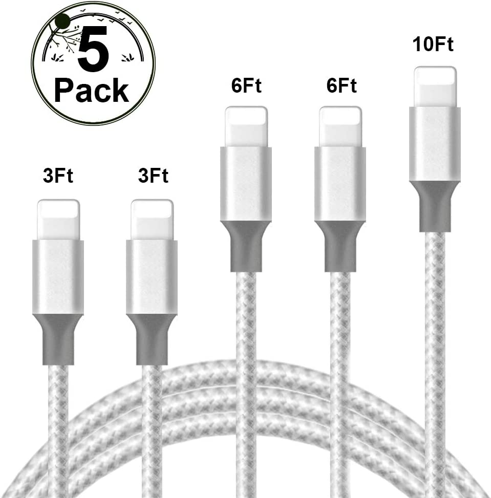 iPhone Charger,Peceony MFi Certified Lightning Cable 5 Pack [3/3/6/6/10FT] Nylon Braided USB Fast Charging Cord,iPhone Charger Compatible iPhone 11 Pro/XR/X/8Plus/7Plus/6Plus/8/7/6 [Silver].