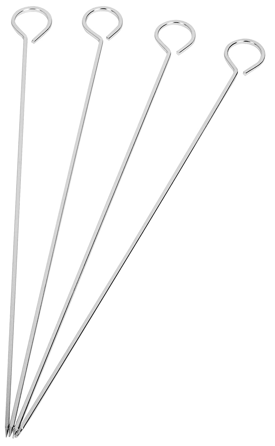 HIC Harold Import Reusable Barbecue and Grilling Shish Kabob Skewers with Ring-Handle Top, 15-Inches Long, Set of 4 Harold Import Company Inc. 43179