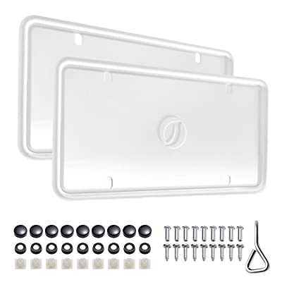 Ohuhu Silicone License Plate Frame 2-Pack with Mounting Accessories White, Rust-Proof, Rattle-Proof, Weather-Proof, Wont Block Letters/Stickers: Automotive
