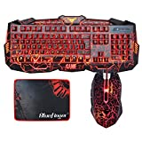 Gaming keyboard and Mouse Combo BlueFinger USB Wired Keyboard 3 Color Blue/Red/Purple LED Backlit Crack Keyboard and Mouse Set for Gamer Office Review