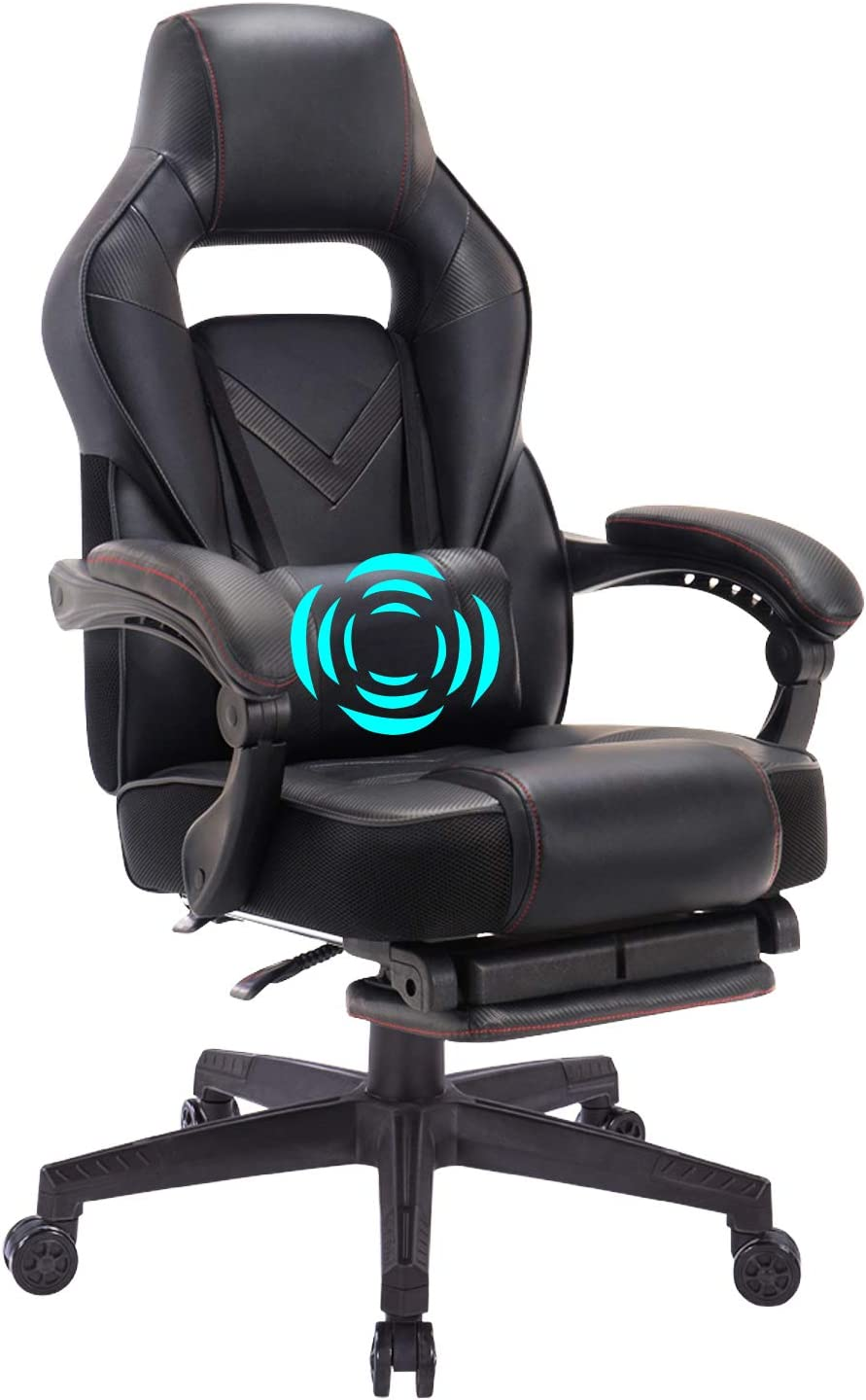 HEALGEN Reclining Gaming Chair with Adjustable Massage Lumbar Pillow and Footrest- Memory Foam PC Computer Racing Chair - Ergonomic High-Back Desk Office Chair (9015Black)