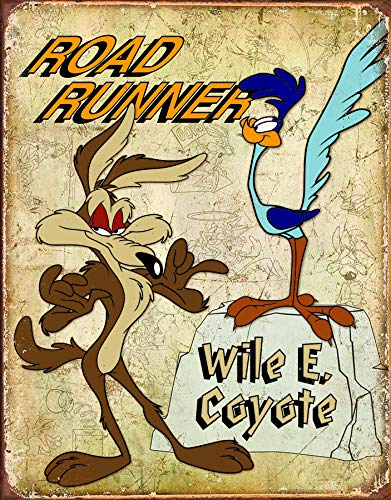 (Road Runner & Wyle E Coyote Tin Sign 13 x 16in)