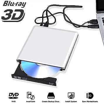 Unidad Externa BLU Ray Lector DVD Externo 3D, USB 3.0 Grabadora DVD Externa óptica de