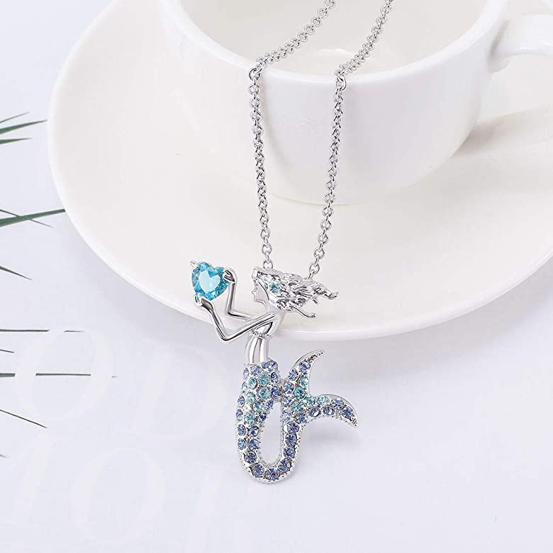 Quaappaa Mermaid Pendant Necklace Jewelry Crystal Pendant Gift for Girls Women