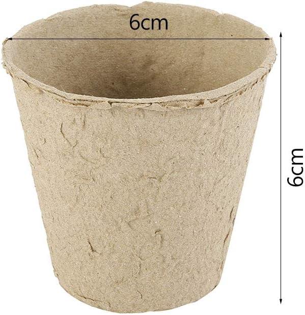 avec 50 /étiquettes Blanches en Plastique de 1 x 5 cm 50pcs Petits Pots de semis en Fibre biod/égradable,Pot de Plantation de 8 cm