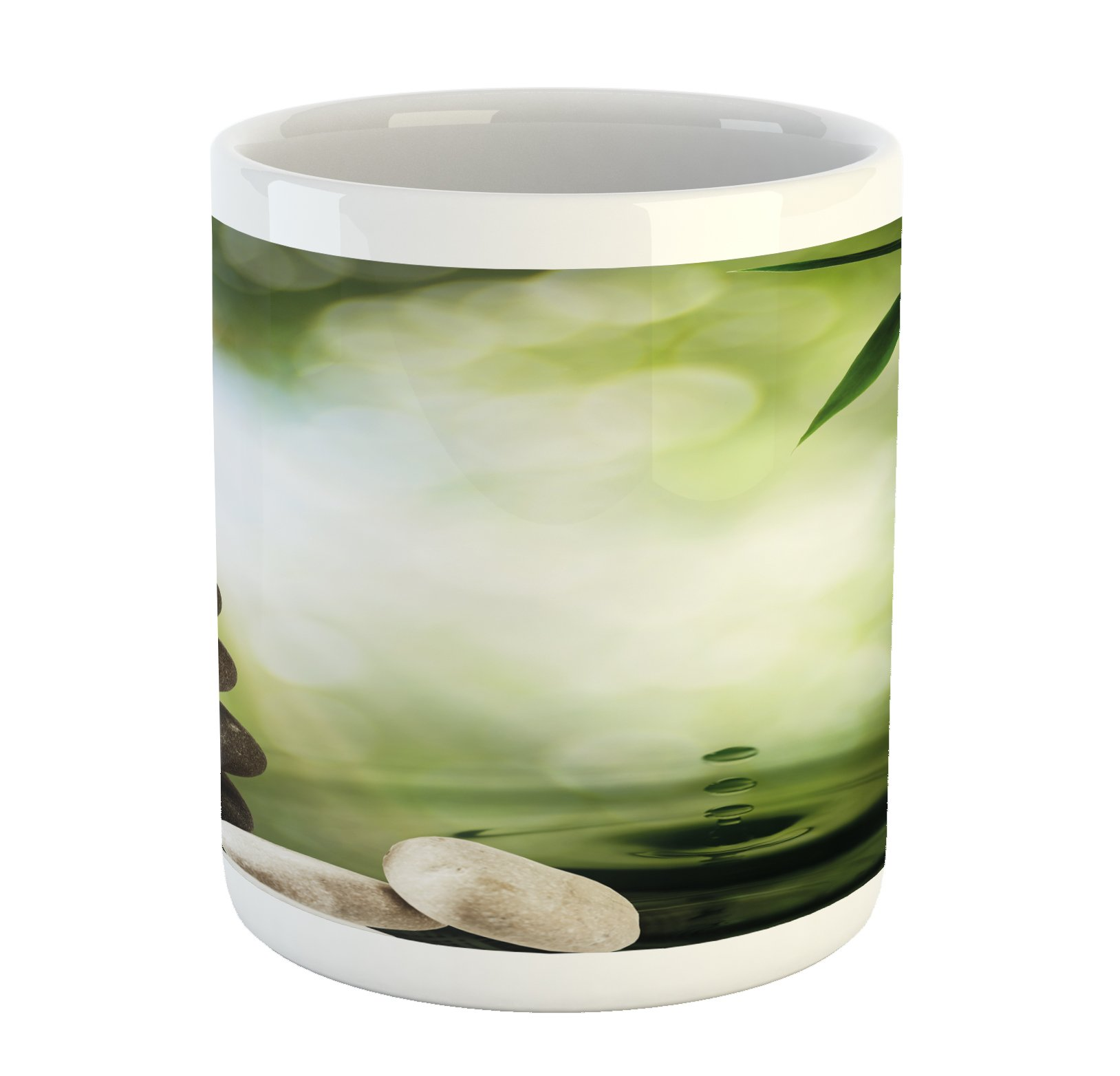 Lunarable Tropical Mug, Abstract Eco Background with Bamboo Tree Water Splash Bubbles and Spa Stones, Printed Ceramic Coffee Mug Water Tea Drinks Cup, Green Grey White