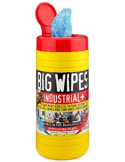 Big Wipes Industrial 60020002 + pre-moisten Heavy Duty Limpiador de doble cara, 1 lado para fregar 1 suave, 12 cm de largo x 8