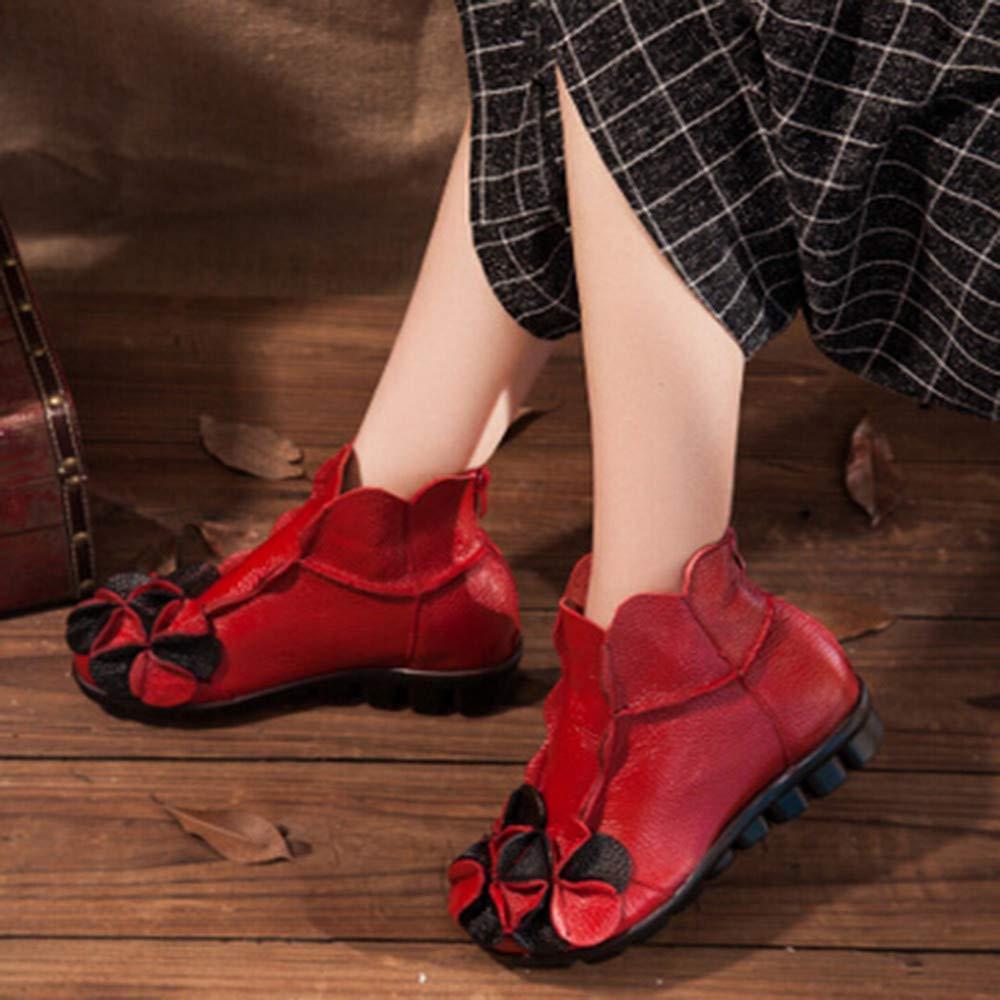 Qiusa damen handgenähte handgenähte handgenähte Blaumen Schuhe ethnischen Stil Martin Stiefel Leder Casual Stiefel (Farbe   Rot Größe   4 UK) 359f18