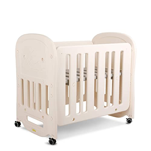 HOMFY Mini Crib Bed for Baby Girls Boys with Wheels Lockable, Infant Bed 2 Heights Adjustable and Easy to Assemble, 41 L x 27 W, Beige