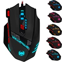 Zelotes T90 Professional 9200 DPI Gaming Mouse,8 Buttons,With 7 kinds modes of LED Colorful Breathing Light,Weight Tuning Set,High Precision USB Wired mouse mice for Gamer PC MAC(Black)