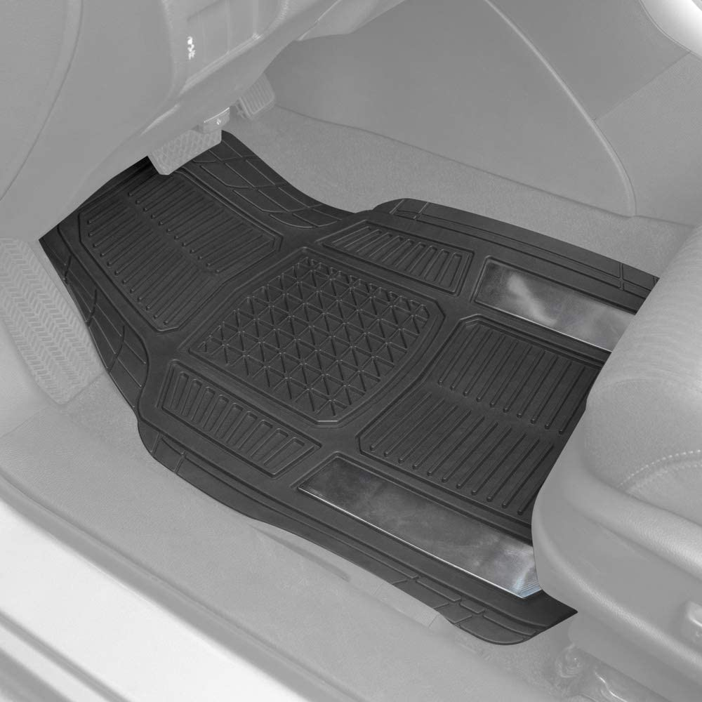 Total Protection BDK AB110-C3 Chrome RuggedDuty Car Rubber Floor Mats w//Cargo Trunk Liner for Auto Sedan SUV Van