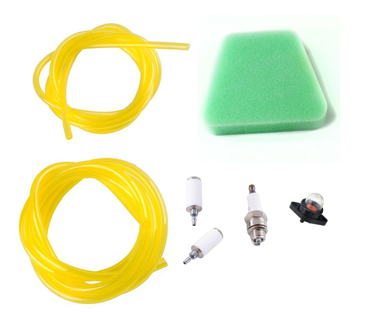 Podoy Chainsaw Parts Compatible Poulan 530095646 Fuel Filter Line Air Filters Primer Bulb Spark Plug Kit Craftsman 530037793