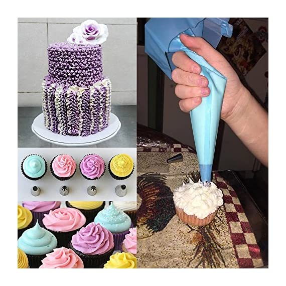 Cake Decorating supplies, Cake Decorating Kit with 36 Icing Tips, 2 Silicone Pastry Bags, 2 Flower Nails, 2 Reusable Plastic Couplers Baking Supplies Frosting Tools Set for Cupcakes Cookies 6 Cake Decorating Supplies Kits: 36 stainless steel icing tips, 2 reusable silicone pastry bag, 2 reusable plastic couplers, 2 flower nails, with which you can create all types of patterns on cake, cupcakes. Decorating Patterns: 11 open star tips, 7 closed star tips, 3 french tips, 3 round tips, 2 plain tips, 4 leaf tips, 3 rose petal tips, 3 special tips. 0.7 inch in diameter, 1.26 inch tall. Premium Baking Supplies Frosting Tool: Strong, durable, stainless steel, corrosion resistant, reusable, non-stick, tasteless & non-toxic, FDA and LFGB approved, easy to clean and dishwasher safe.