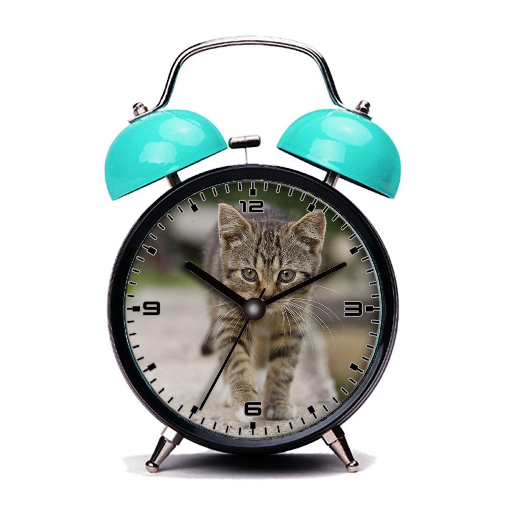 Blue Alarm Clock, Retro Portable Twin Bell Beside Alarm Clocks with Nightlight-120.Cat, Tabby, Outdoors, Animals, Cute, Kitten, Pets GIRLSIGHT