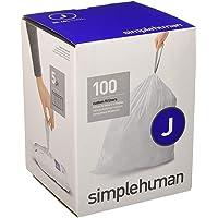 simplehuman Code J Custom Fit Liners, Tall Kitchen Drawstring Trash Bags White 100