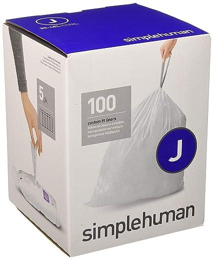 simplehuman - Bolsas de basura a medida, color blanco, código J - 30-45 L, pack de 100