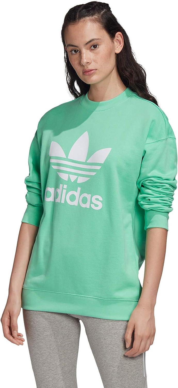 adidas - Trefoil Crew Sweat, Felpa Donna Verde (Prism Mint/White)