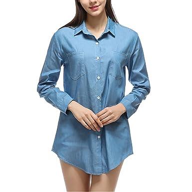 04de19c2b1 Women Long Sleeve Loose Button Down Chambray Denim Shirt Blouse Mini ...
