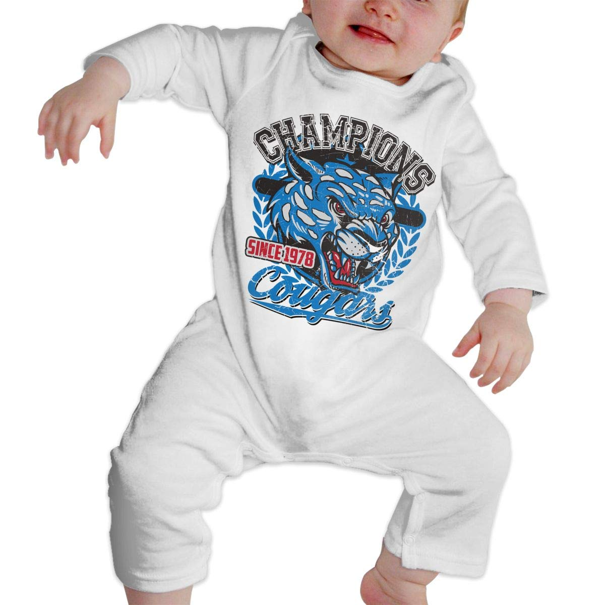 Baby Boy Girl Round Neck Long-Sleeve Pure Color Romper Champions Cougars Jumpsuit
