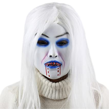 Halloween Party Cosplay Scary Ghost Face Mask Halloween Toothy Zombie Bride With Black Hair Horror Ghost Head Mask Toy Novelty & Special Use Costume Props