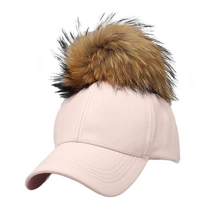 10abd9b7d1c Amazon.com  2019 Fashion Design Women s Hat PU Leather Pom Pom Cap Leather  Hat with Fur Ball Female Visor Baseball Cap Beige  Clothing