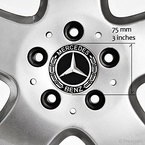 Mercedes Benz Wheel Center Caps - Set of 4 - New - Black - 75mm /3 Inch - MB Wheels Center Cap - Mercedes Benz Wheel Caps – Mercedes Center Caps - Mercedes Wheel Caps - Mercedes Benz Center Wheel Caps by Preteum (Image #4)