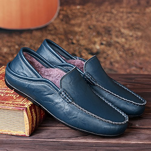 Mensl Salabobo Shoes Driving Blue Slip Plus QYY on Wool Warm Loafers 20138W Velvet EpxqUnrHPp