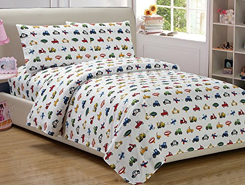 Mk Home 4 Pc Full Size Sheet Set Police Cars Construction Trucks Airplane Blue Red Yellow Green Black (Trucks Sheet)