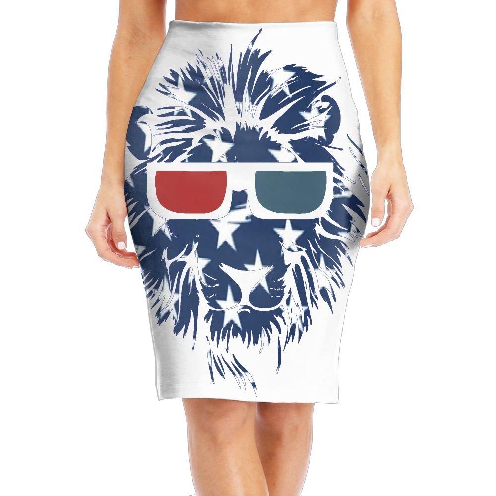 Ameirican Flag Lion Head Glasses Women's Fashion Printed Pencil Skirt