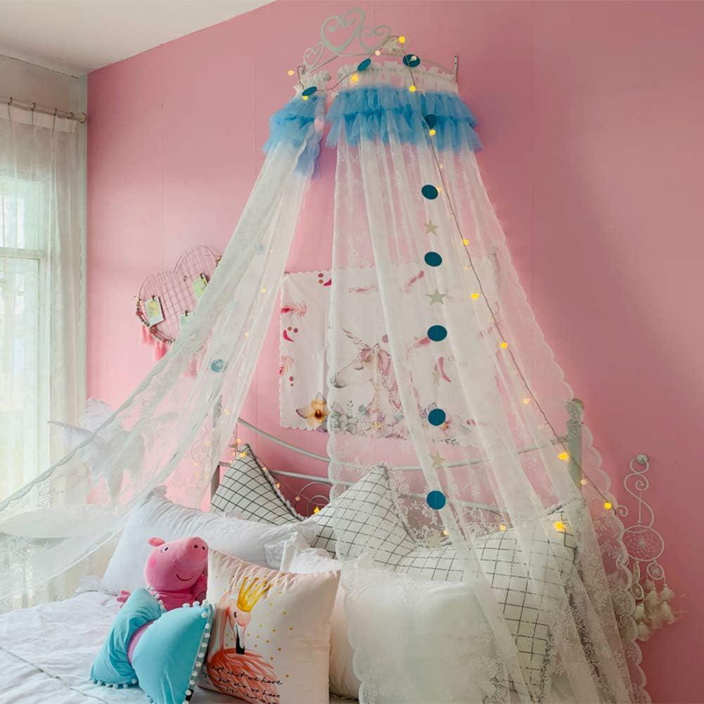 キッズベッドキャノピー,姫ベッドキャノピー 白い金属の王冠と星の寝具の装飾が付いているレースの糸のベッドのカーテン-a