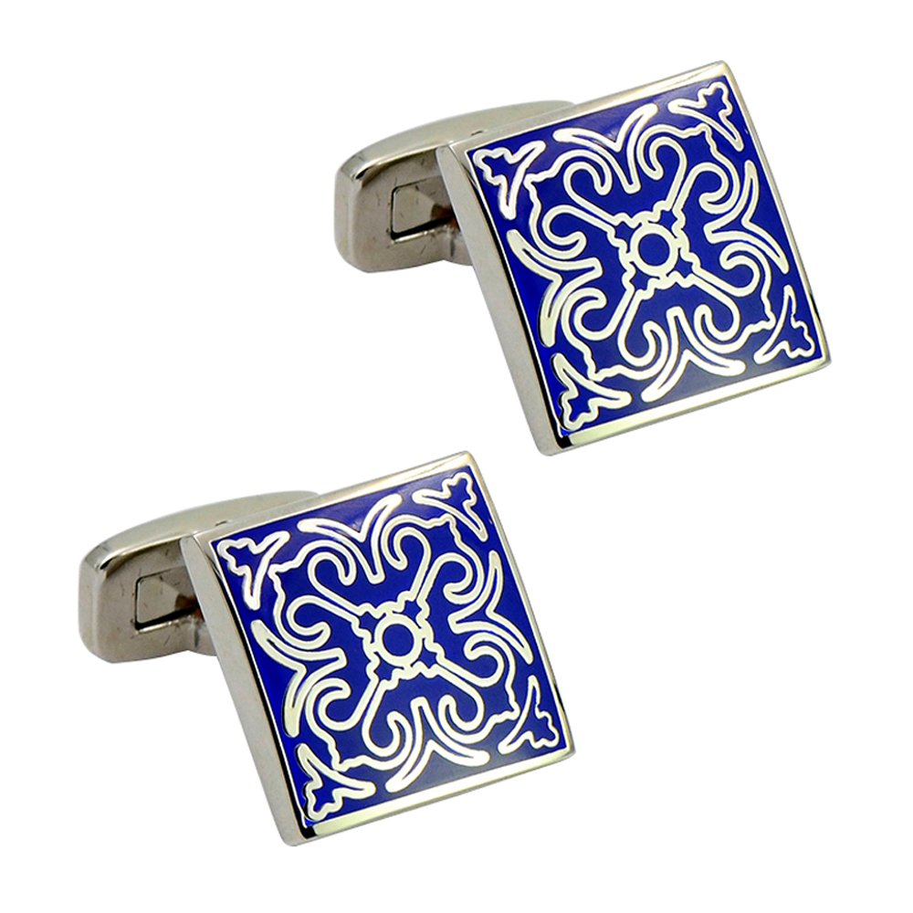 Elegant Pattern Blue Enamel Cufflink Square Whale Back Cufflink Elegant Art Deco Cufflinks