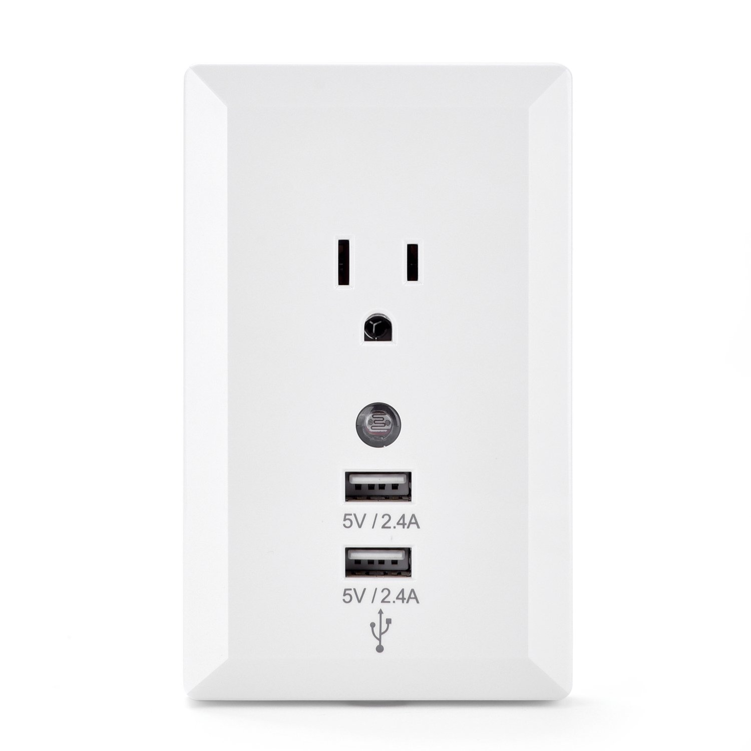 Dual USB Charger Outlet Wall Outlet Duplex Receptacle Smart High Speed 15-Amp with Power Plug and Sensor Night Light without Installation for Travel Home, White
