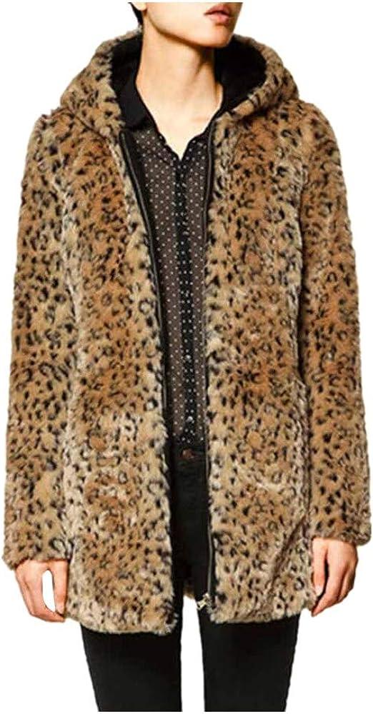 DOGZI Abrigo Mujer Invierno,Leopardo Suéter con Capucha Abrigo de Cuello de Piel Piel sintética Cremallera Bolsillo Desgastar Casual Cárdigan Cardigan Talla Grande Mantón S~3XL