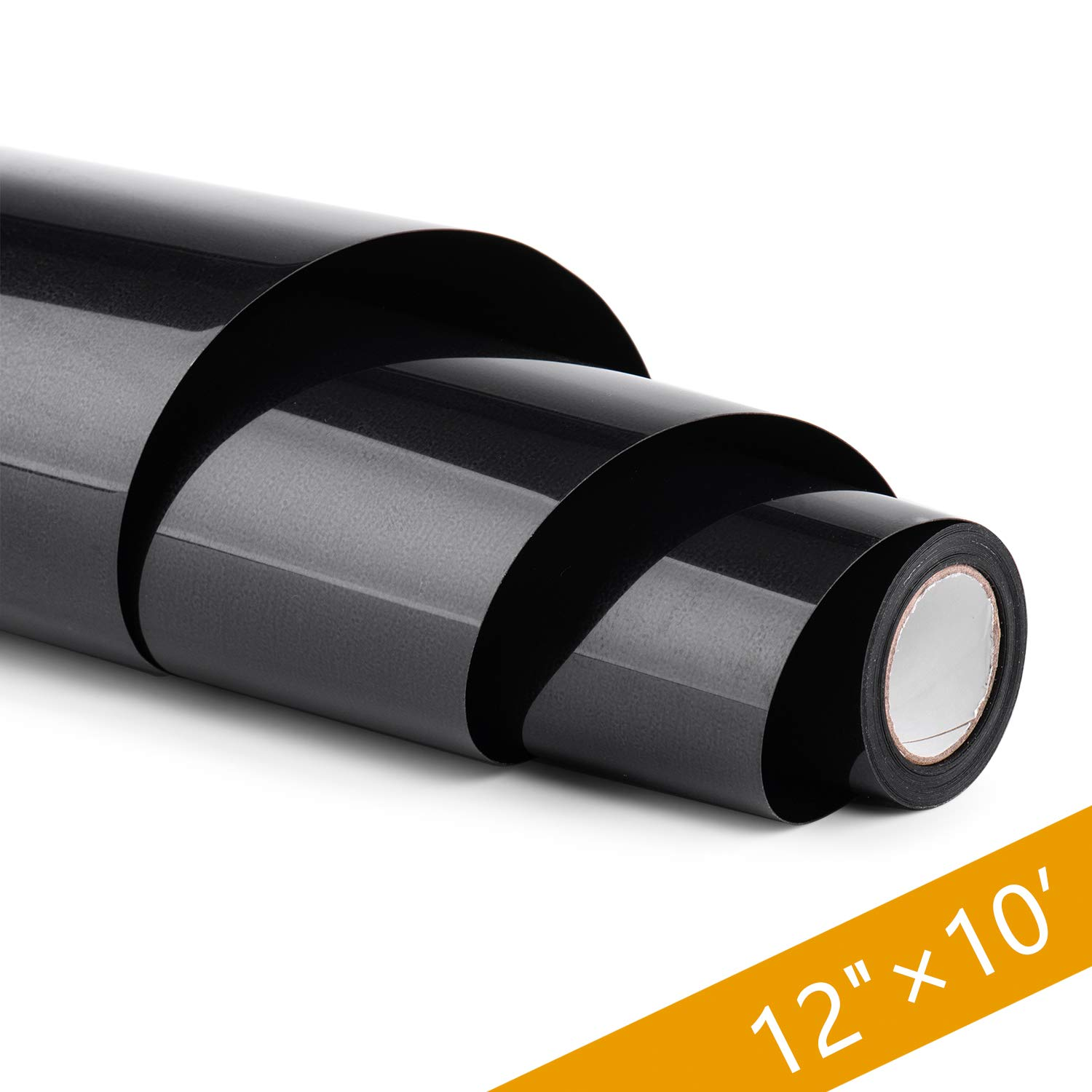 PU HTV Vinyl Rolls - 12 Inch × 10 Feet Heat Transfer Vinyl, Easy Cut & Weed Compatible with Cameo Silhouette & Cricut, Iron on Vinyl for Design DIY T-Shirts, Hats, Clothing and Other Textiles(Black) by HenPisen
