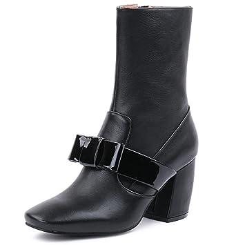 Botas femeninas Tacón alto Cabeza cuadrada Botas de martin De las mujeres Botas de cuero negro
