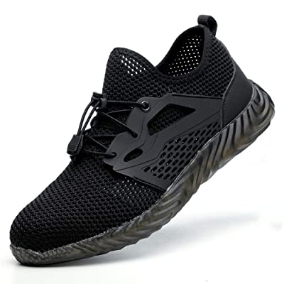 DYKHMILY Steel Toe Shoes for Men and Women Breathable Mens Safety Work Sneakers Puncture Proof Indestructible Shoes(9, Dark Black, C9001): Shoes
