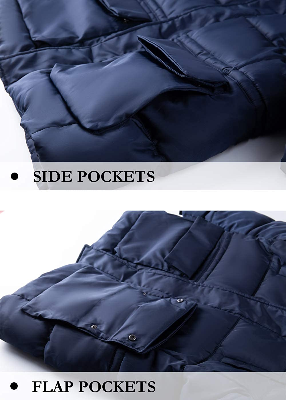 GLESTORE Mens Winter Jacket Windbreaker Coats Thick Padded Parka Heavy Weight with Fur Hood
