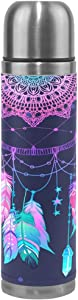 alaza Galaxy Dream Catcher Stainless Steel Water Bottle Leak Proof Vacuum Insulated Thermos Flask 17 Oz Genuine Leather Wrapped Cover