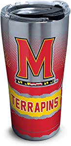 Tervis Maryland Terrapins Knockout Stainless Steel Insulated Tumbler with Clear and Black Hammer Lid, 20oz, Silver
