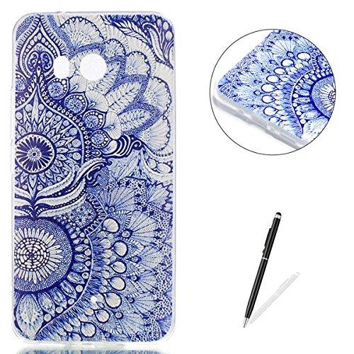 KaseHom HTC U11 Silicone Case, HTC U11 Soft Slim TPU Cover + [Free Touch Stylus Pen] Stylish Painted Design Anti-Scrach Jelly Gel Protection Bumper Shell - Blue Mandala (Htc Hellokitty Phone Case)
