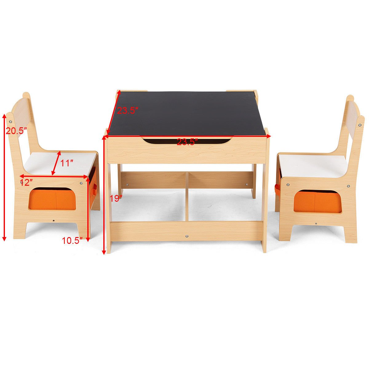 Costzon Kids Table and 2 Chairs Set, 3 in 1 Wooden Table Furniture for Toddlers Drawing, Reading, Train, Art Playroom, Activity Table Desk Sets (Convertible Set with Storage Space) by Costzon (Image #7)