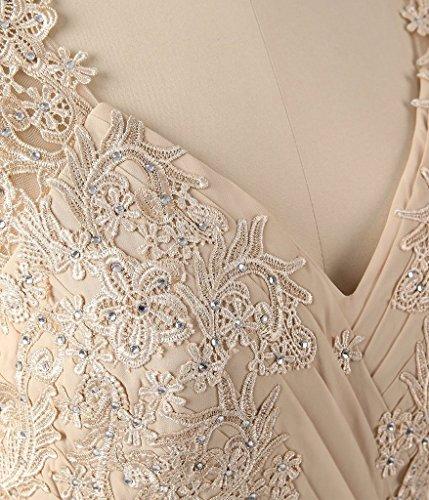 Frauen HWAN Mutter Traube der Perlen Kleid Ausschnitt Abendkleider Spitze lange Mermaid Braut V B4qrd4