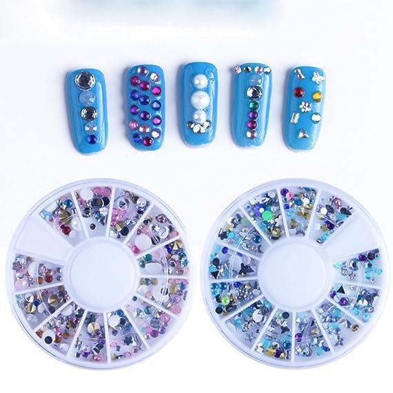 Burfly - Pendientes de uñas decorativos con purpurina, diseño de gotas de agua, perlas sintéticas, fondo plano, 1 rueda, color degradado, semicircular, ...