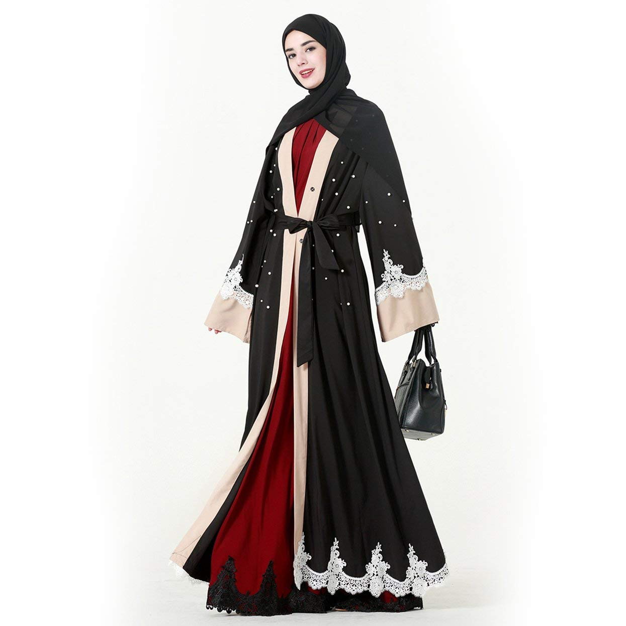 Elegant Women Full Length Loose Lace Splicing Patchwork Muslim Abaya Muslem Caftans Long Robes Arabic Dubai Dress LoveOlvidoY
