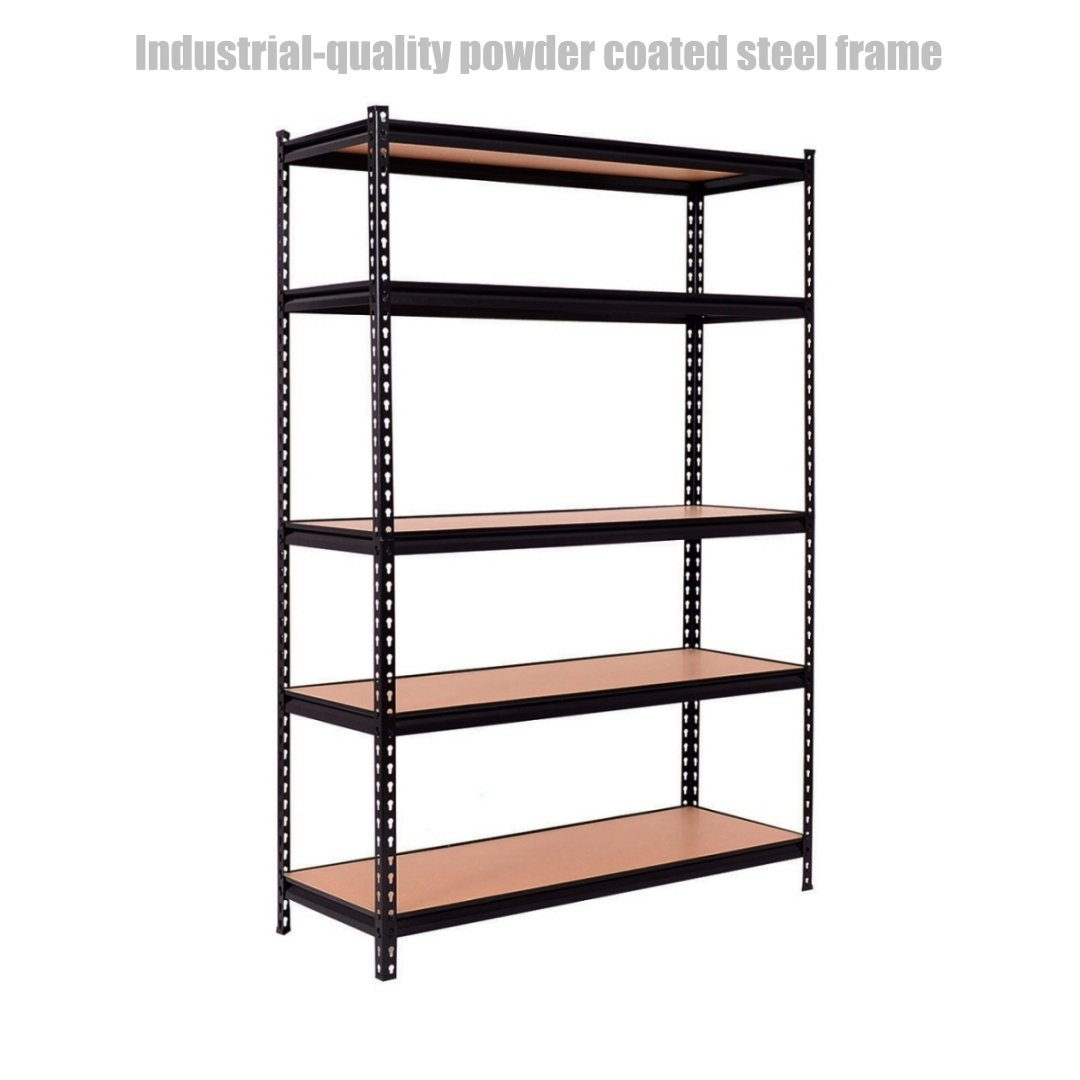 5 Tier Heavy Duty Shelf School Office Home Garage Solid Steel Metal Storage Rack Space-Saving Design Adjustable Height Shelves - 48''L ×18''W ×72''H Black #1307a