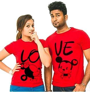 423aa1c966 MTM Printed Round Neck Half Sleeves Printed Couple T-Shirts - Mickey -  Minnie 100