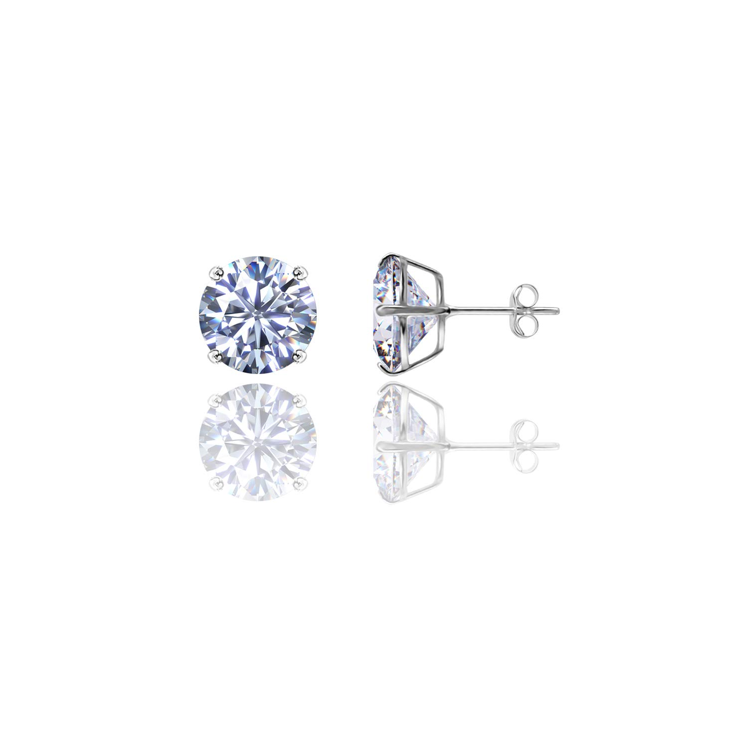 14kt Solid White Gold Super Bright Clear Cz Basket Round Butterfly Pushback Stud Earrings